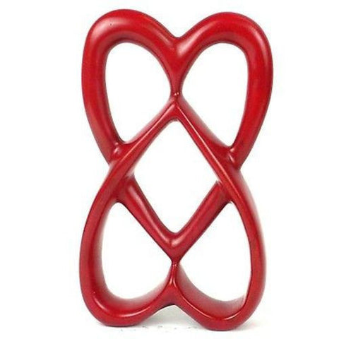 Handcrafted 8-inch Soapstone Connected Hearts Sculpture in Red-Snazzy Bazaar