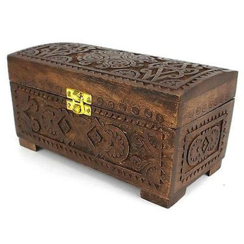 Handcrafted Carved Mango Wood Chest with Latch-Snazzy Bazaar