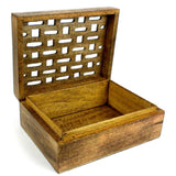 Handcrafted Carved Mango Wood Open Box-Snazzy Bazaar