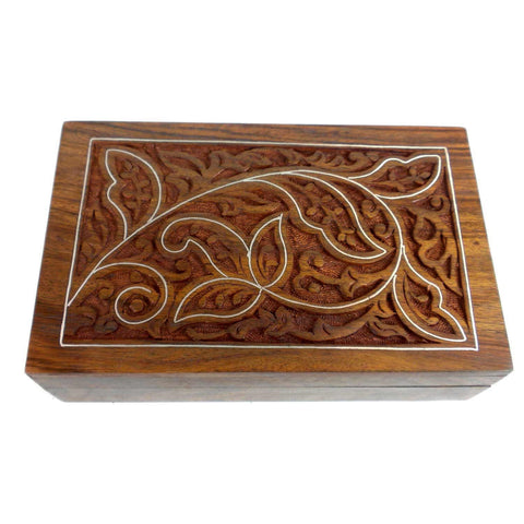 Handcrafted Carved Sheesham Wood Box with Pewter Inlay-Snazzy Bazaar
