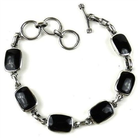 Handcrafted Mexican Alpaca Silver and Onyx Bracelet-Snazzy Bazaar