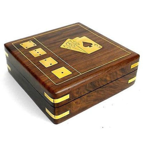 Handcrafted Sheesham Wood Card Box with Dice-Snazzy Bazaar
