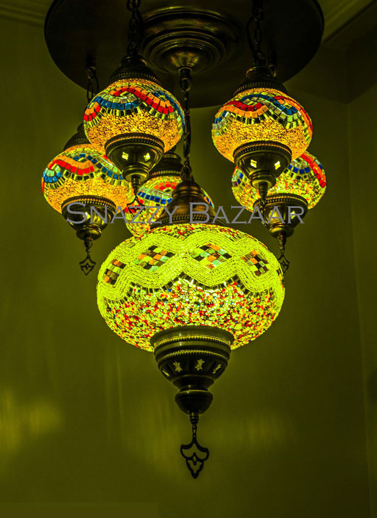 Handmade turkish mosaic chandelier celestial design lime light handmade 6 globe turkish mosaic chandelier celestial design lime light snazzy bazaar aloadofball Images