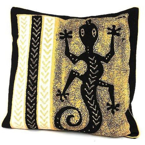 Handmade Black and White Lizard Batik Cushion Cover-Snazzy Bazaar