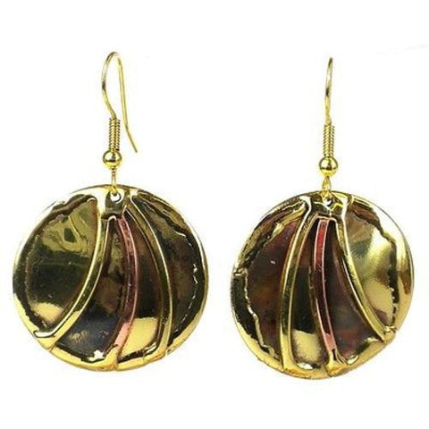 Handmade Brass Sun Rays Earrings-Snazzy Bazaar
