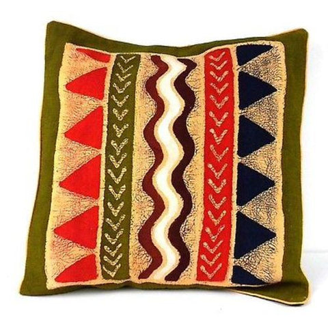 Handmade Geometric Water Batik Cushion Cover-Snazzy Bazaar