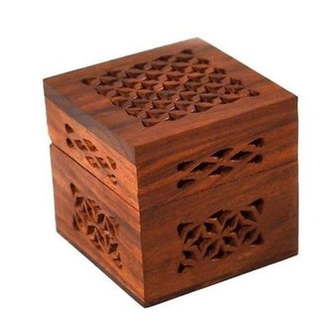 Handmade Small Lattice Cutwork Wood Box-Snazzy Bazaar