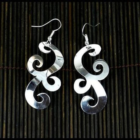 Large Silverplated Scrollwork Earrings-Snazzy Bazaar
