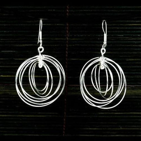 Large Silverplated Seven Circles Earrings-Snazzy Bazaar