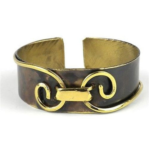 Narrow Connected Spirals Brass Cuff-Snazzy Bazaar