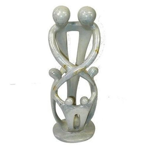 Natural 10-inch Tall Soapstone Family Sculpture - Family of 6-Snazzy Bazaar