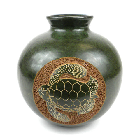 Nicaraguan Vase - Shell Turtle Design in Emerald Green-Snazzy Bazaar