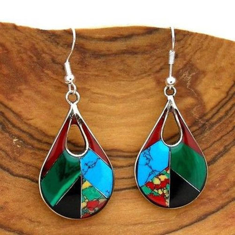 Open Alpaca Silver Teardrop Diagonal Mosaic Stone Earrings-Snazzy Bazaar