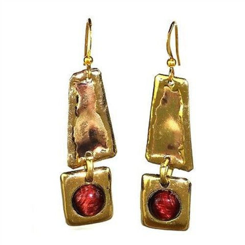 Red Tiger Eye Brass Earrings-Snazzy Bazaar