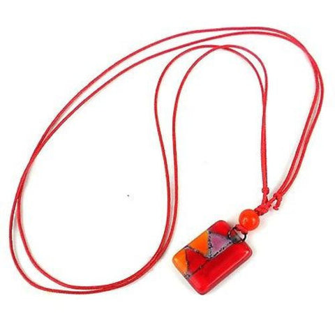 Red Zig-Zag Small Fused Glass Pendant Necklace-Snazzy Bazaar