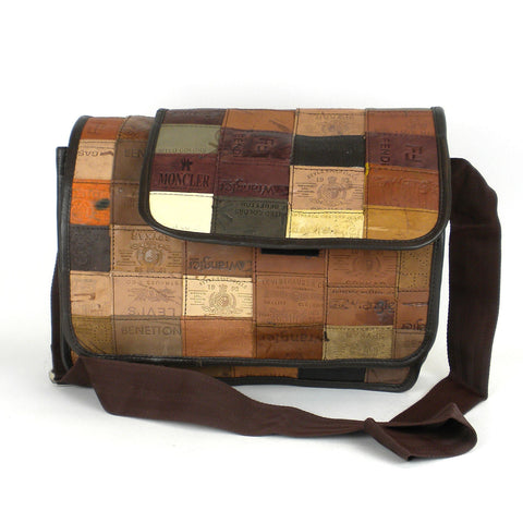 Repurposed Leather Label Messenger Bag-Snazzy Bazaar