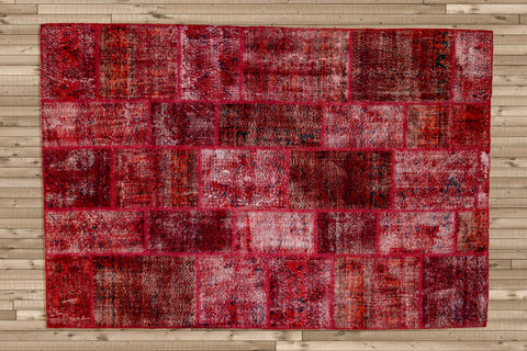 Royal Red - Vintage Patchwork Rug-Snazzy Bazaar