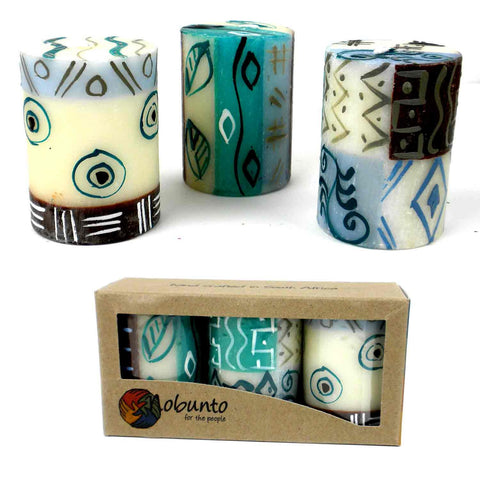 Set of Three Boxed Hand-Painted Candles - Maji-Snazzy Bazaar