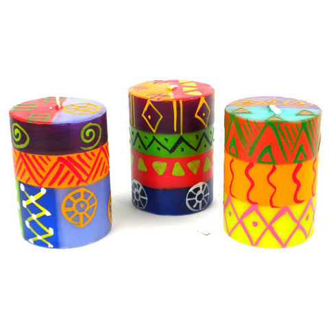 Set of Three Boxed Hand-Painted Candles - Shahida-Snazzy Bazaar