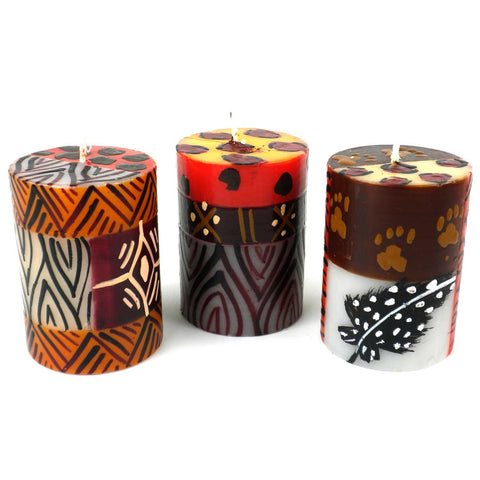 Set of Three Boxed Hand-Painted Candles - Uzima-Snazzy Bazaar
