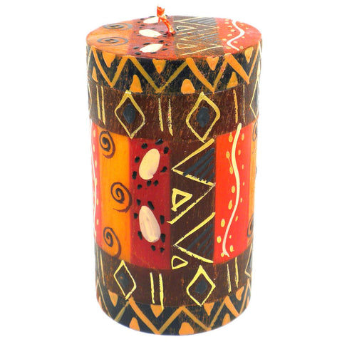 Single Boxed Hand-Painted Pillar Candle - Bongazi-Snazzy Bazaar