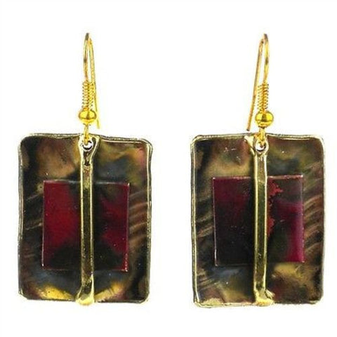 Square on Square Copper and Brass Earrings-Snazzy Bazaar