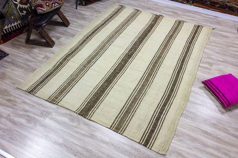 Striped Brown - Vintage Kilim-Snazzy Bazaar