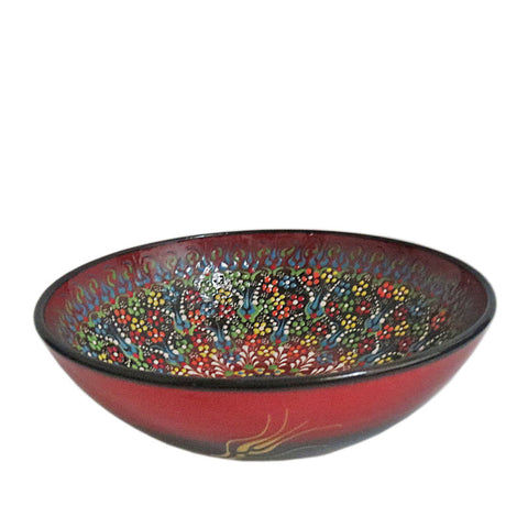 Turkish Ceramic Bowl - Red Meadow-Snazzy Bazaar