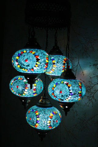 Turkish mosaic 5 globe chandelier blue moons snazzy bazaar turkish mosaic chandelier 5 globes blue moons snazzy bazaar aloadofball Images