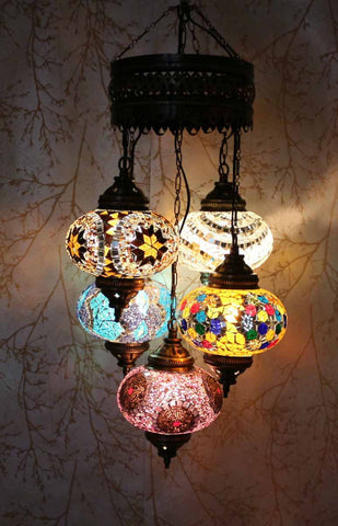 Turkish Mosaic Chandelier - 5 Globes - Calm Night-Snazzy Bazaar