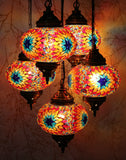 Turkish Mosaic Chandelier - Cat Eye Gold-Snazzy Bazaar