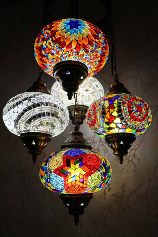 Turkish Mosaic Chandelier - Color Burst-Snazzy Bazaar