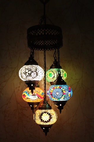 Turkish Mosaic Chandelier - Color Collage-Snazzy Bazaar