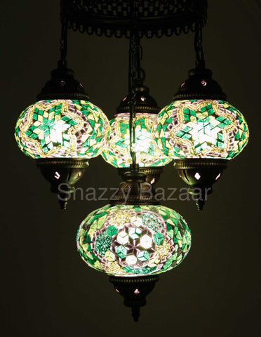Turkish Mosaic Chandelier - Emerald Green-Snazzy Bazaar
