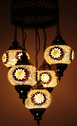 Turkish Mosaic Chandelier - Goldie Brown-Snazzy Bazaar