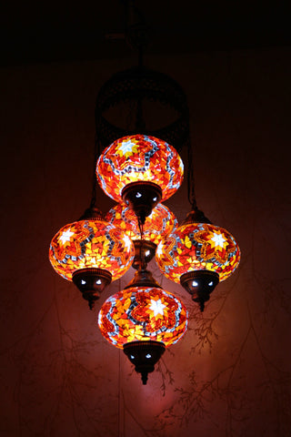 Turkish Mosaic Chandelier - Orange Glow-Snazzy Bazaar