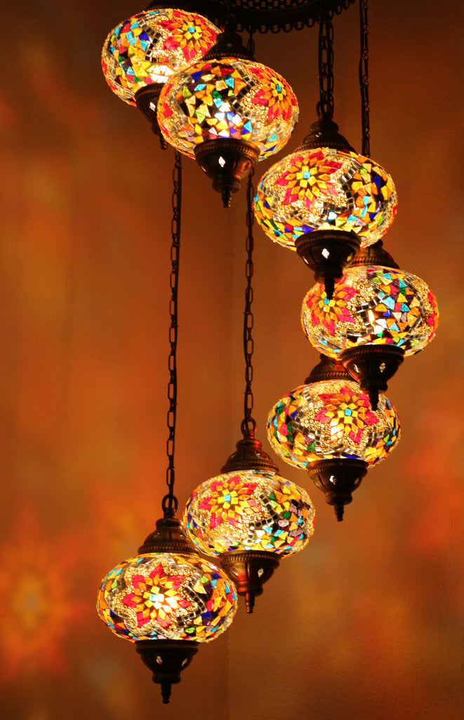 Turkish Mosaic 7 Globe Chandelier Seven Stairs Snazzy