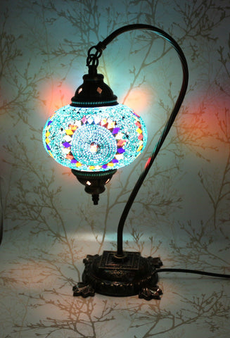 Turkish Mosaic Swan Neck Table Lamp - Blue Galore-Snazzy Bazaar