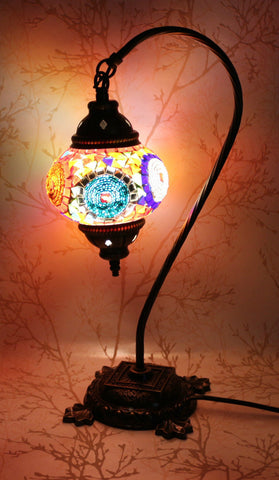Turkish Mosaic Swan Neck Table Lamp - Blue Gold-Snazzy Bazaar