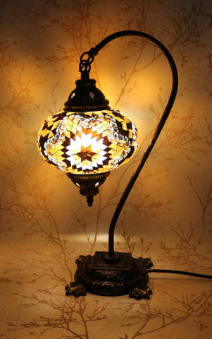 Turkish Mosaic Swan Neck Table Lamp - Brownie Gold-Snazzy Bazaar