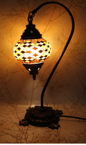 Turkish Mosaic Swan Neck Table Lamp - Gold Checker-Snazzy Bazaar