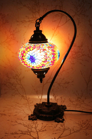 Turkish Mosaic Swan Neck Table Lamp - Hint of Blue-Snazzy Bazaar