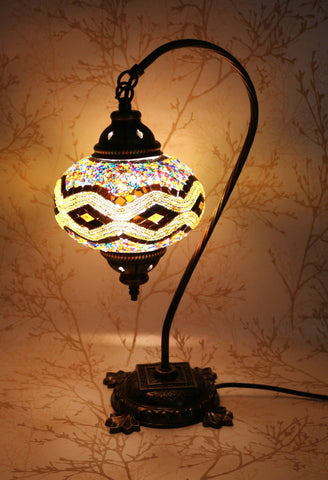 Turkish Mosaic Swan Neck Table Lamp - Pearl Brown-Snazzy Bazaar