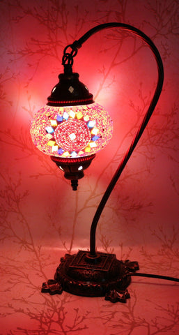 Turkish Mosaic Swan Neck Table Lamp - Ruby Red-Snazzy Bazaar