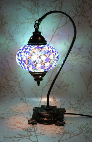 Turkish Mosaic Swan Neck Table Lamp - White Lilac-Snazzy Bazaar
