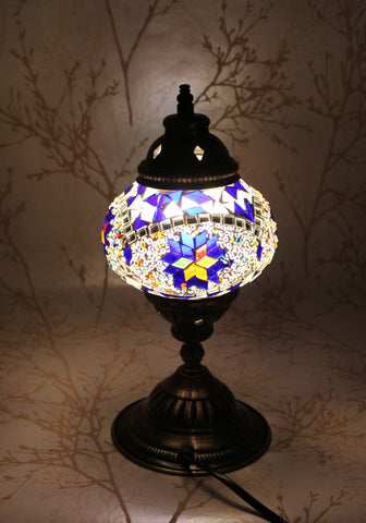 Turkish Mosaic Table Lamp - Amethyst Flower-Snazzy Bazaar
