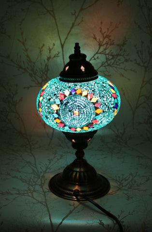 Turkish Mosaic Table Lamp - Blue Diamond-Snazzy Bazaar