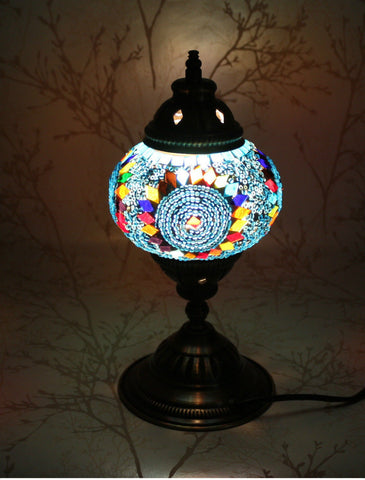 Turkish Mosaic Table Lamp - Blue Twirl-Snazzy Bazaar