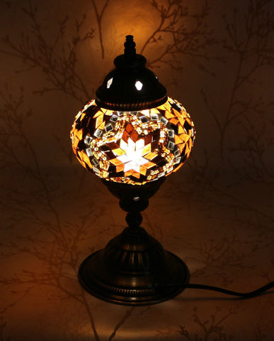 Turkish Mosaic Table Lamp - Crystal Gold-Snazzy Bazaar