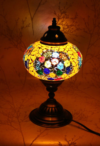 Turkish Mosaic Table Lamp - Gold Burst-Snazzy Bazaar
